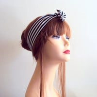 Striped Head Band Knotted Headband Tied Up Head Band Wired Headband Women's Black and White Striped Yoga Bandana Hair Accessories Gift Ideas