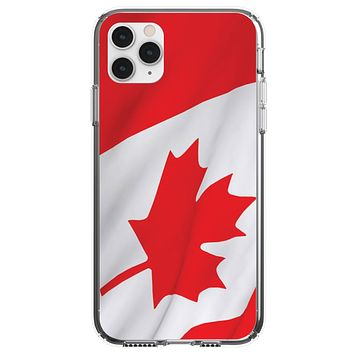 DistinctInk® Clear Shockproof Hybrid Case for Apple iPhone / Samsung Galaxy / Google Pixel - Red White Canadian Flag Canada