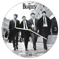 "13 1/2"" Black & White Beatles Wall Clock 