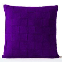 Amore Beaute Handcrafted Purple Felt Pillowcases - Felt Weave Pillows Covers- Throw Pillow Covers- Decorative Pillows Cases- Gift- Felt Square Pillow Cover - Modern Decor - Chair Pillow Covers- Wool Pillow Covers - Purple Felt Pillow Cover - Purple Throw P