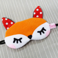 FREE SHIPPING - Sleeping Eye Mask - Kawaii Woodland Animal - The Little Red Fox