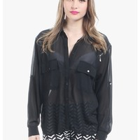 black Zip It Up Button Up Long Sleeve Blouse   $10.00   Cheap Trendy Blouses Chic Discount Fashion