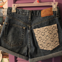 High Waisted Denim Cut Off Shorts With Lace Pocket and Studs