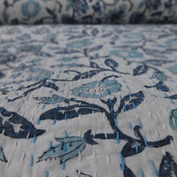 Handmade Block Print Patch Work Cotton Kantha Quilt, Reversible Floral Print Bedspread, Queen Size Bedding, Indian Designer Bed Cover