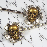 Skull and Flower Bobby Pin Set, Silver Plated & Antiqued Brass, Goth Hair Accessory