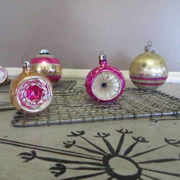 Shiny Brite Glass Ornaments Pink Ornaments Mercury Glass Striped Ornament Christmas Tree Indented Ornament Hand Heart Ornament