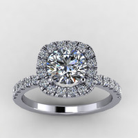 14K White Diamond Engagement ring with Moissanite Center  -Style 26W14DME
