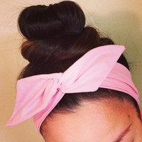Simple Solid Light Pink Dolly Bow Headband