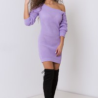 ONE OFF THE SHOULDER JUMPER DRESS LILAC
