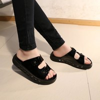 Summer Stylish Casual Thick Crust With Heel Sandals Beach Slippers [6047364481]