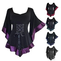 US STOCK Womens Vintage Flared Sleeve Lace-up Loose Shirt Goth Blouse Mini dress