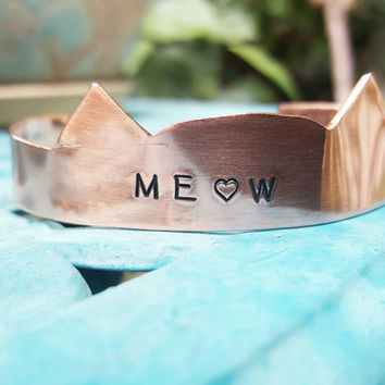 Meow cuff, cat ears custom cuff, kitty love bracelet, made to order, cat bracelet, cat custom cuff