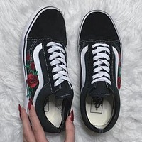 Vans Classics Old Skool Rose Embroidery Sport Sneaker Flats Shoes