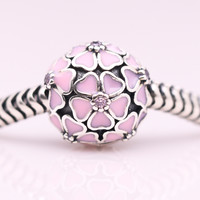 Pink Enamel sakura Clip Beads Original 925 sterling silver charms Fit Pandora Bracelets Women DIY Jewelry