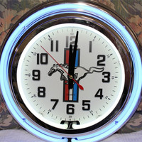 """Ford Mustang 14"""" Neon Wall Clock"""