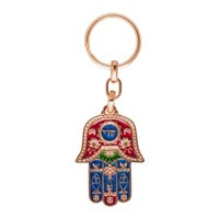 Evil Eye Colorful Golden Hamsa Key Chain with Travelers Prayer