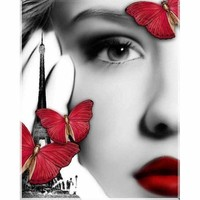 5D Diamond Painting Red Lips and Butterflies Kit