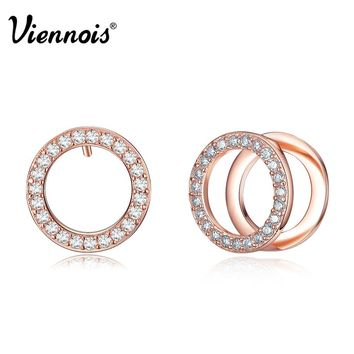 Newest Viennois Fashion Jewelry Rose Gold & Platinum Plated Double Circle Stud Earrings for Woman Rhinestone Round Earrings
