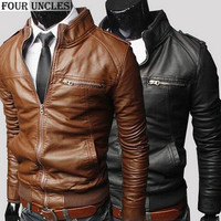 leather jacket casual men autumn winter new fashion Zipper Slim Faux Leather Motorcycle Jackets solid Men coat jaqueta,MM1139
