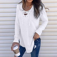 Hot Women'S Shirts For Spring Female V Neck Strap Long Sleeve Oversize Fashion Tops Female Elegant Top Autumn Blouse#Guahao