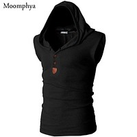 New streetwear Men hooded tank top Stretchy Men bodybuilding Slim Fit Clothing Tanks