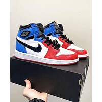 Bunchsun AIR JORDAN 1 tide brand men and women high-top patent leather stitching basketball shoes