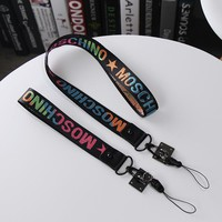 """Moschino"" Women Letter Embroidery Webbing Hang Rope Mobile Phone Key Buckle Lanyard Fashion Accessories"