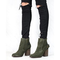 Sbicca - Lorenza - Suede Leather Ankle Booties - Forest Green