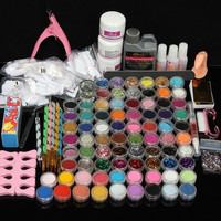 Professional Nail Art Set 78 Colors Acrylic Liquid Glitter UV Powder File Brush Tips Tools DIY