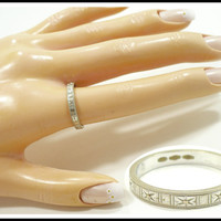 Vintage Sterling Silver Ring, Engraved Band Ring, 750 Sterling, Size 7, Pinky Ring, Unisex Gift