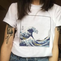 Summer female fashion Harajuku large size wave Japanese print fun short-sleeved T-shirt tops tees new wave O-Neck T-shirt S-2XL