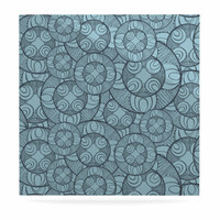 "Maike Thoma ""Layered Circles Design"" Blue Floral Luxe Square Panel"