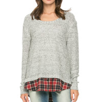 Cozy Sweater Layered on Flannel Grey