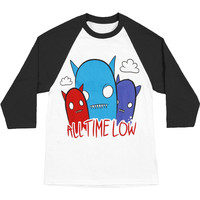 All Time Low Men's  Ghosts Baseball Jersey Black & White Rockabilia