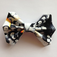 Penguin Black and White Fabric Hair Bow