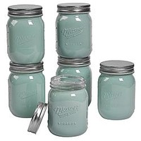 Mason Pint (16oz) Opaque Green Mason Jars, 6 Pack - Home - Kitchen - Food Prep & Gadgets - Canning Supplies