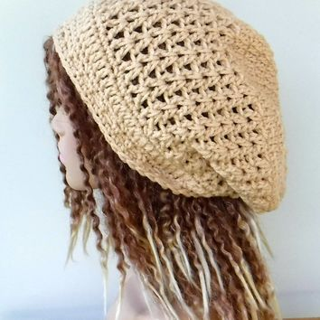Warm beige slouchy beanie, small dread tam hat, slouch beanie, smaller dreadlocks hat, vegan man hat, woman beanie
