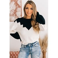 Close Connections Knit Sweater (Ivory/Black)