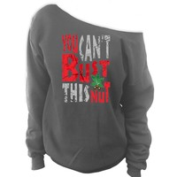You Can't Bust This Nut Off-The-Shoulder Oversized Slouchy Sweatshirt Ohio State Buckeyes
