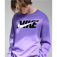Nike Autumn Winter New Popular Loose Print Long Sleeve Cotton Sweater Top Sweatshirt Purple