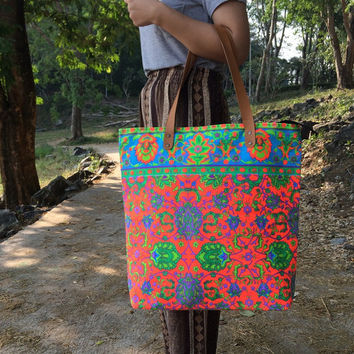 Summer Large Tote Canvas bag Summer Bag Colorful Neon Printed Canvas Tribal Hobo Hippie bag Weekender bag Beach bag Boho Bag Beach Purse.