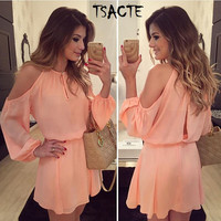 New Style Summer Pink Dress Sexy Off Shoulder Long Sleeve Tunic Women Chiffon Dress Casual Vestido Round halter Special offer