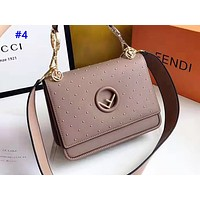 FENDI fashion hot seller casual lady rivet solid color cross-body bag clamshell messenger bag #4