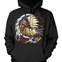 Indian Chief Mens American Indian Sweatshirt, Native American With Feather Headdress Pullover Hoodie