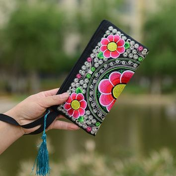 National Ethnic Style Women Wallets Small Embroidered Bag Traditional Handmade Double Flower Embroidered Long Wallet Coin Purse
