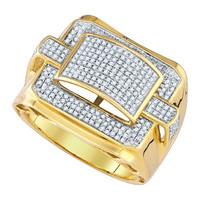 Diamond Micro Pave Mens Ring in 10k Gold 0.79 ctw