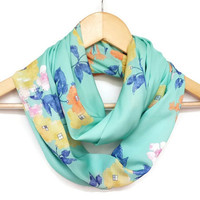 On sale, Fall Scarf, Mint Green Scarf, Infinity Scarf, Colorful, Floral Print, Women Accessory, Very Soft