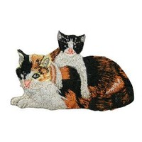 ID #2906 Calico Cat and Kitten Embroidered Iron On Applique Patch