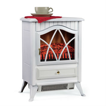 White 400 Square-FT Electric Space Heater Fireplace Stove