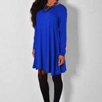 Azzuro Blue Long Sleeved Swing Dress | Pink Boutique